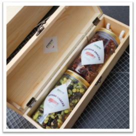 wine crate box snacks