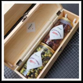 wine crate box snacks